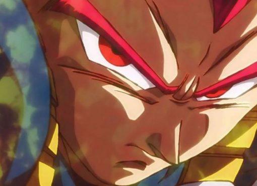 Vegeta na forma de Super Saiyajin Deus no filme Dragon Ball Super: Broly que também aparecerá em Dragon Ball Xenoverse 2
