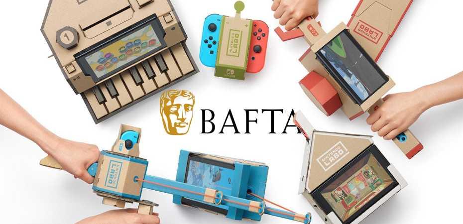 Imagens do Nintendo Labo e logotipo do BAFTA
