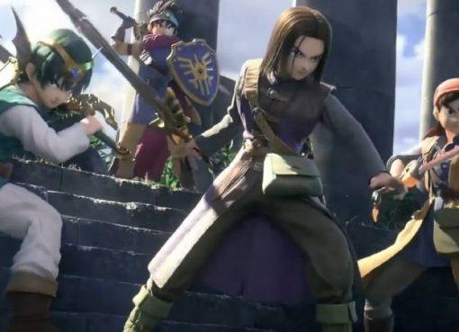 Captura de tela do trailer de anúncio dos heróis de Dragon Quest em Super Smash Bros. Ultimate