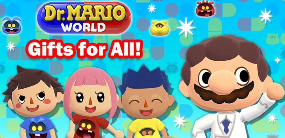Imagem de colaboração entre Animal Crossing: Pocket Camp e Dr. Mario World