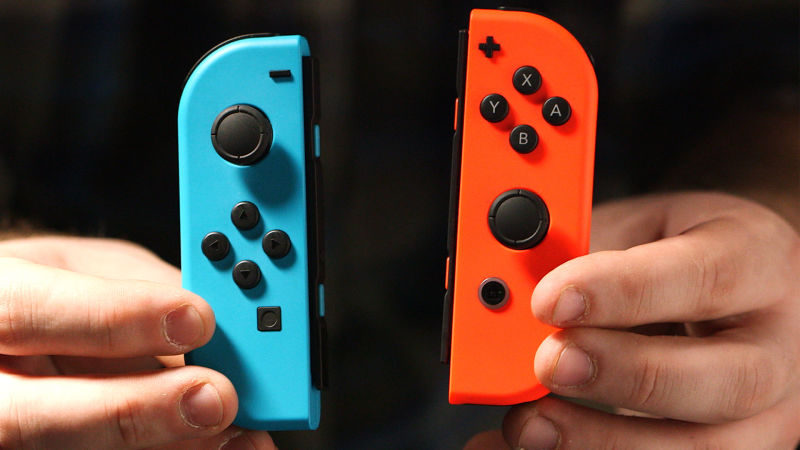 Foto dos controles Joy-Con do Nintendo Switch