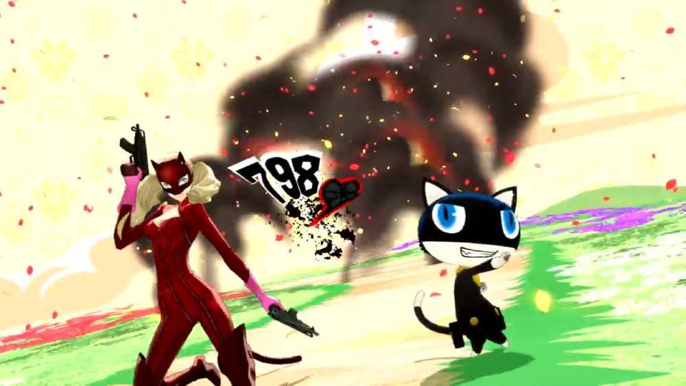 Ataque combinado de Panther e Mona em Persona 5 Royal