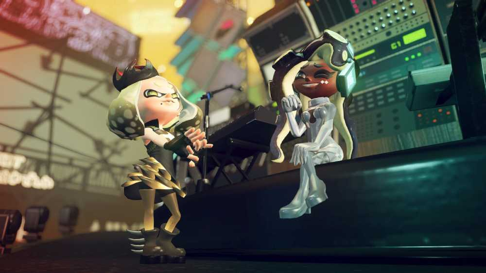 "Pearl e Marina durante a Splatfest ""Splatocalypse"" em Splatoon 2"