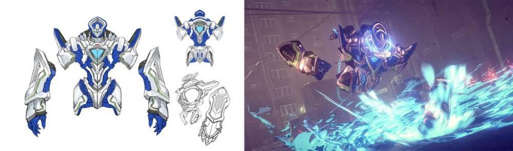 """Arte conceitual e captura de tela do """"Legion"""" Arm de Astral Chain"""