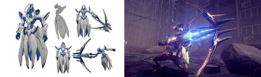 "Arte conceitual e captura de tela do ""Legion"" Arrow de Astral Chain"