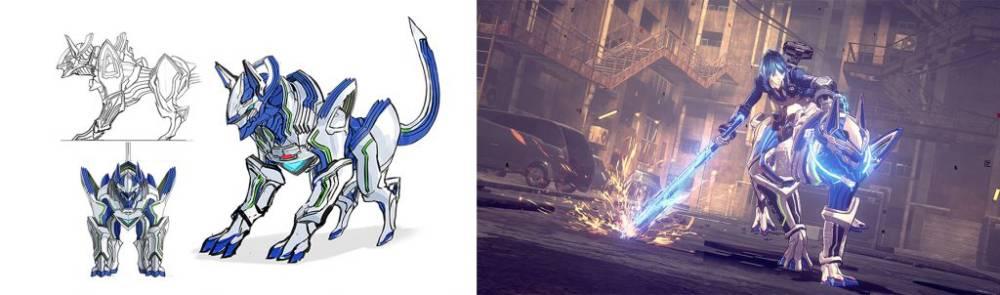 """Arte conceitual e captura de tela do """"Legion"""" Beast de Astral Chain"""