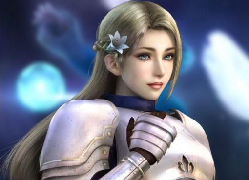 Render da personagem Joan of Arc de Warriors Orochi 3 e fundo com captura de tela do teaser trailer de Warriors Orochi 4 Ultimate