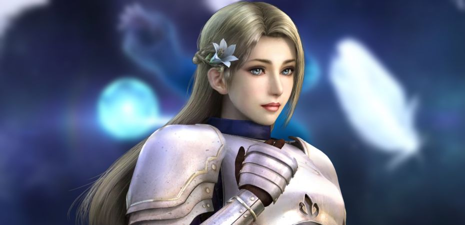 Render da personagem Joan of Arc de Warriors Orochi 3 e fundo com captura de tela do teaser trailer de Warriors Orochi 4 Ultimate