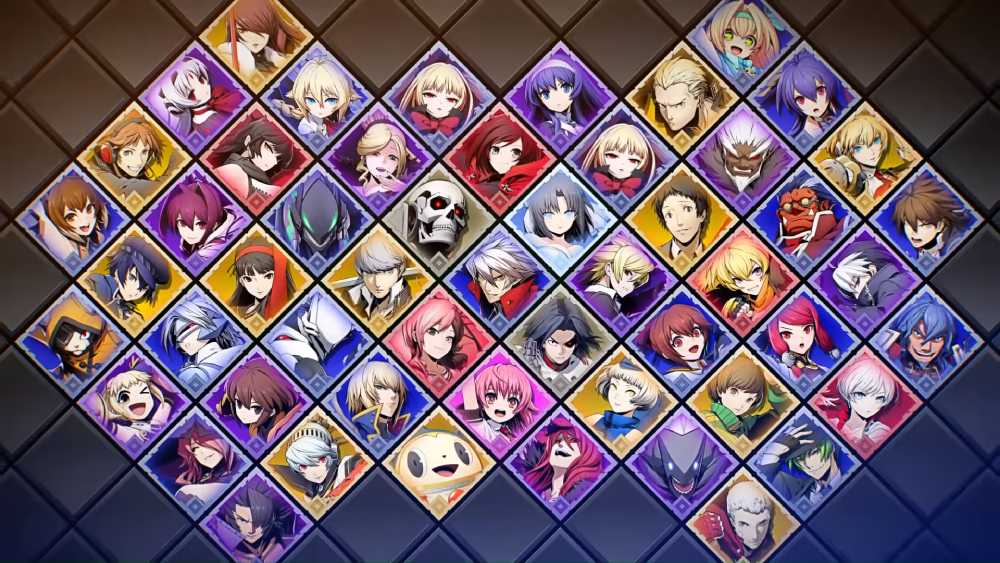 Imagem mostrando o elenco completo de BlazBlue Cross Tag Battle