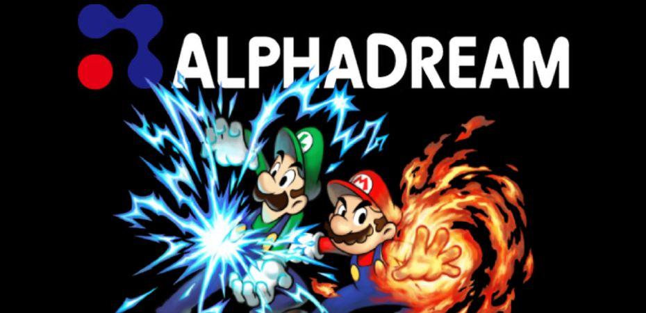 Logotipo de AlphaDream e imagem de Mario & Luigi RPG