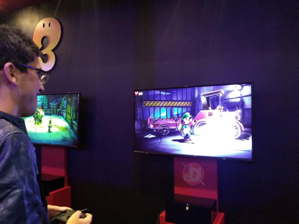 Foto fora de tela de gameplay da demo de Luigi's Mansion 3