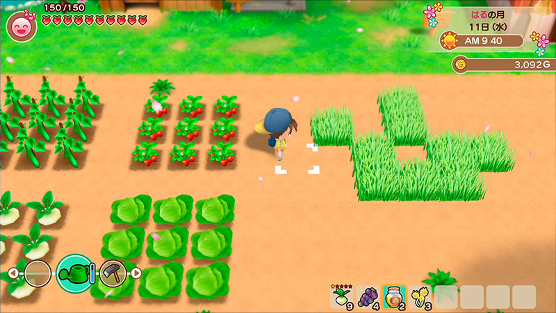 Cenas do gameplay de Story of Seasons: Friends of Mineral Town.