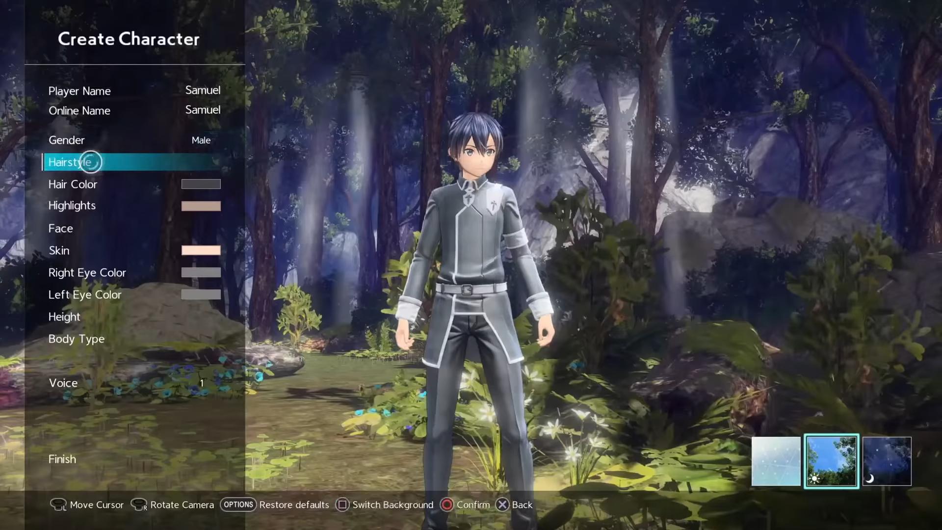 Sword Art Online Alicization Lycoris Criação de Personagem