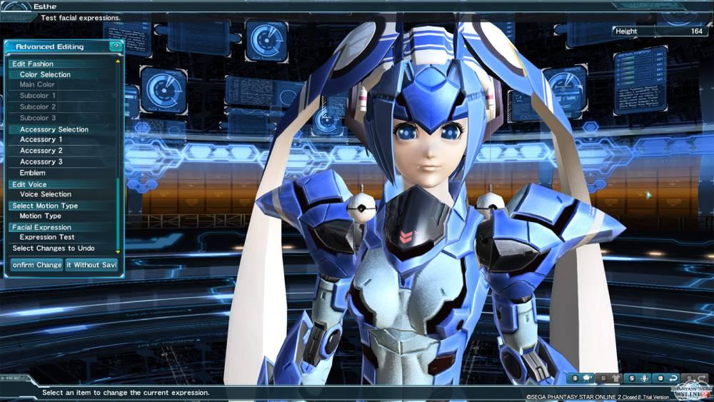 Tela de criação de personagem de Phantasy Star Online 2