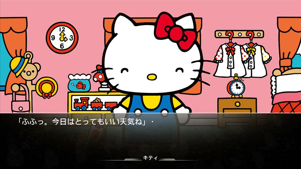 Screenshot de colaboração entre Hello Kitty e Steins;Gate