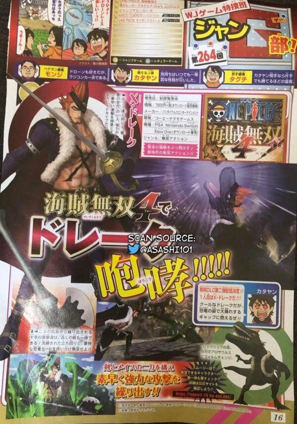 Scan da revista Shonen Jump com anúncio de DLC de One Piece: Pirate Warriors 4