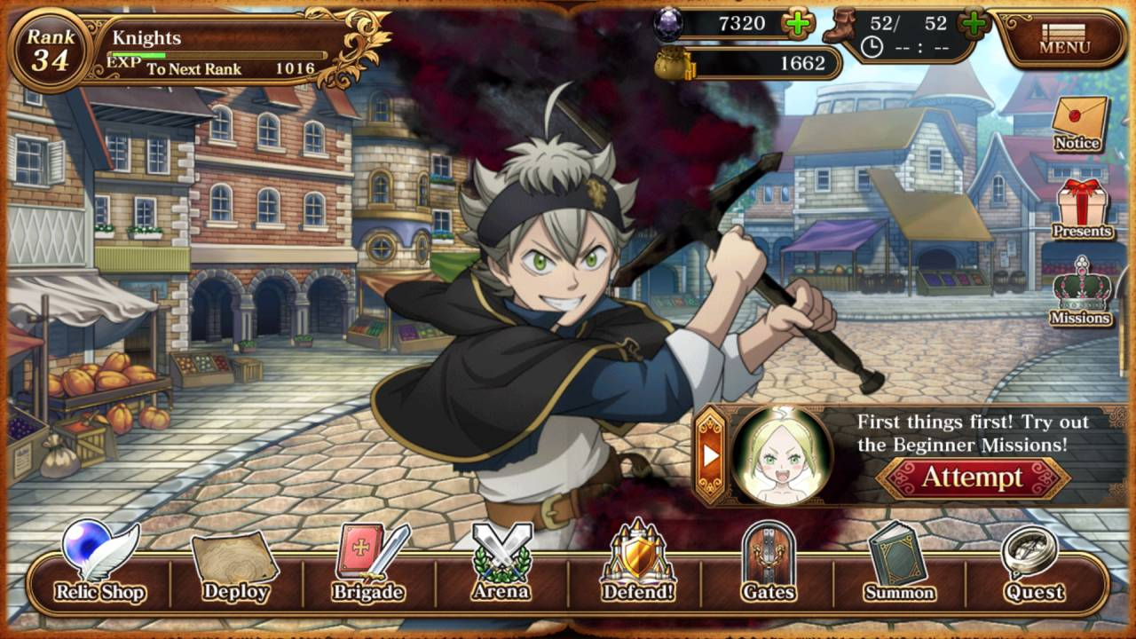 Black Clover menu