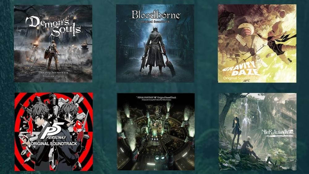 Capas de álbuns de trilha sonora de jogos para PlayStation disponibilizados via Mora Qualitas