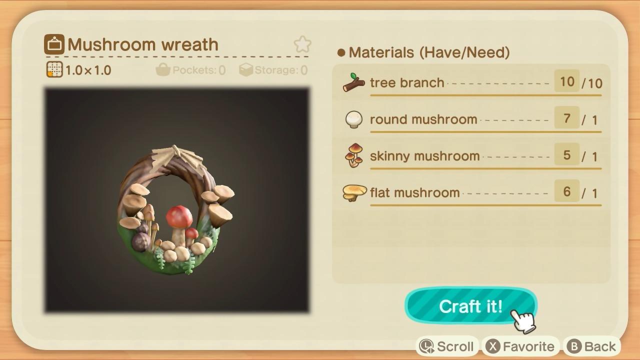 Animal Crossing cogumelos