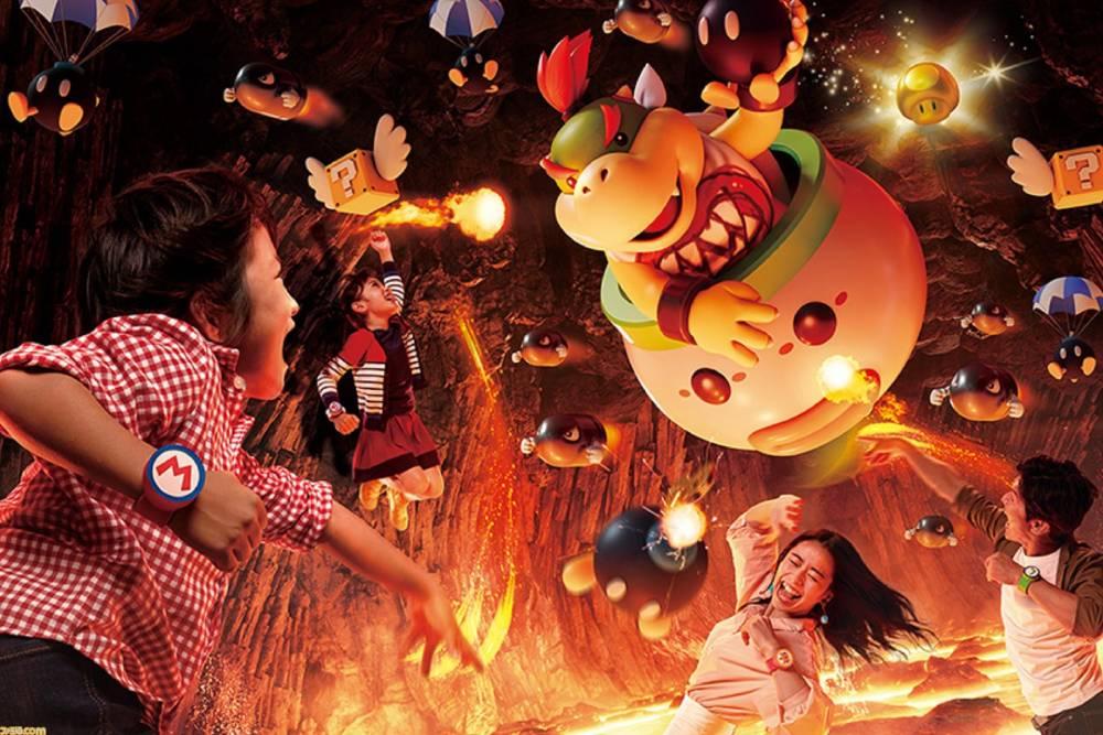 """Atração """"Power-up Band Key Challenge"""" do parque temática Super Nintendo World"""