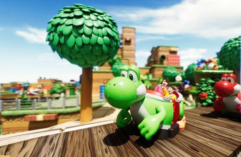 """Atração """"Yoshi Adventur"""" do parque temático Super Nintendo World"""