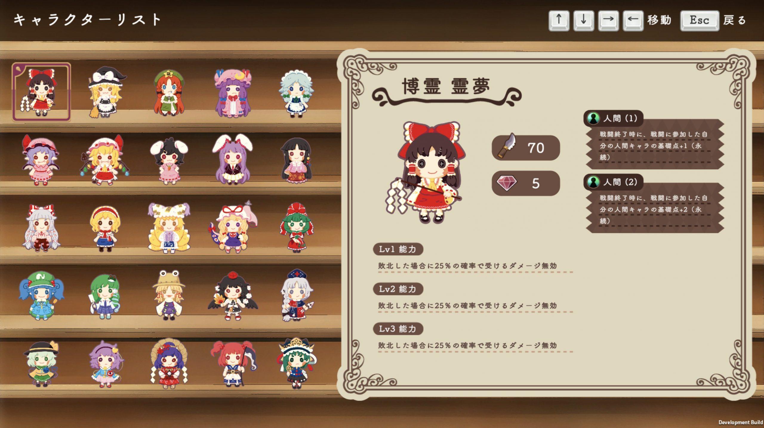 Touhou DollDraft personagens