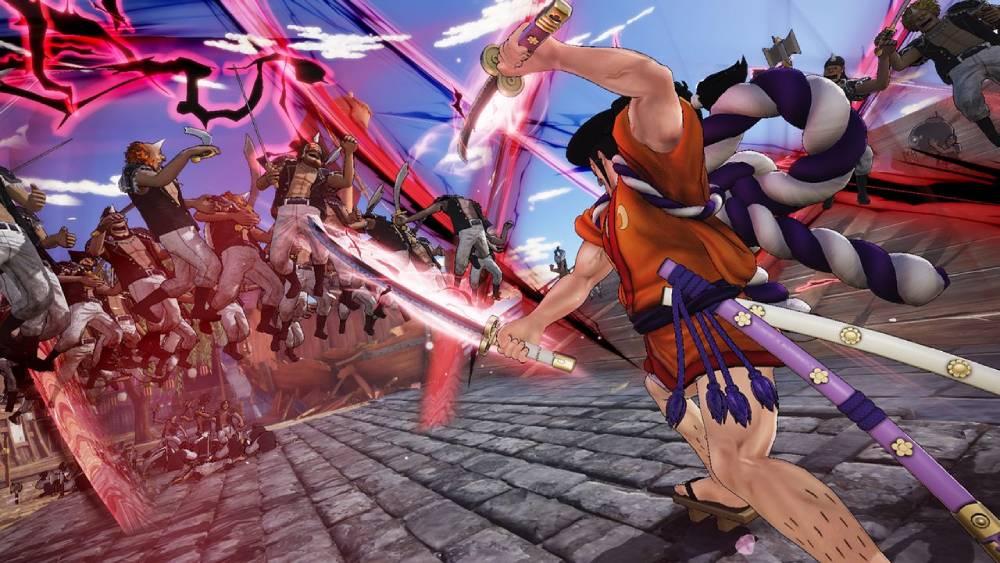 Screenshot de One Piece: Pirate Warriors 4 destacando o samurai Kozuki Oden
