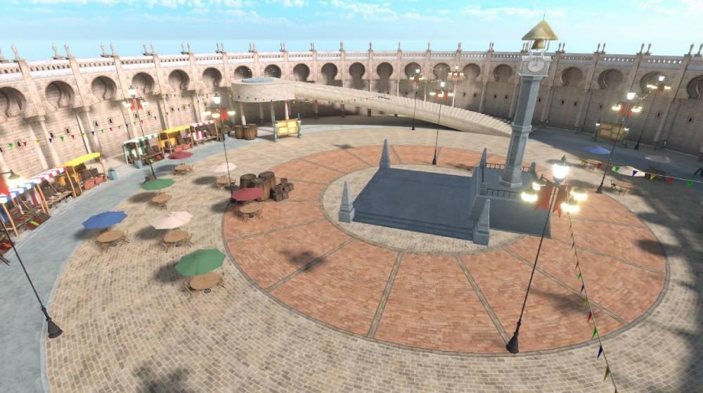 Screenshot do espaço virtual de Sword Art Online em VRChat