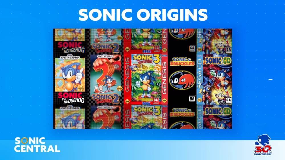 Captura de tela da transmissão ao vivo Sonic Central destacando a coletânea Sonic Origins