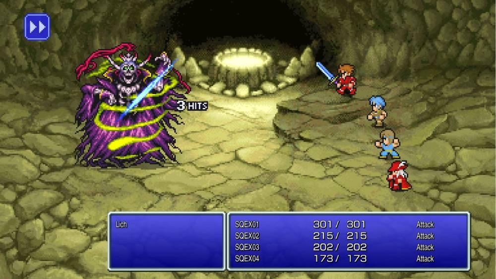 Screenshot de Final Fantasy como parte da série de remasters Final Fantasy Pixel Remaster