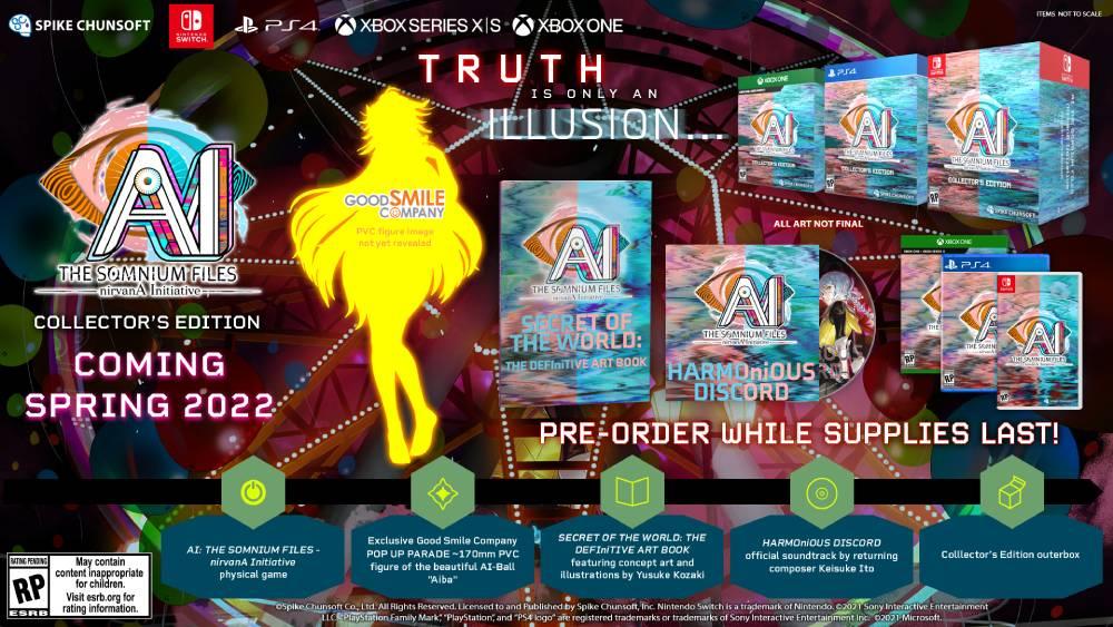 "Arte promocional da ""Collector's Edition"" de AI: The Somnium Files - Nirvana Initiative"